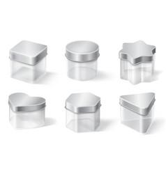 transparent glass jar with metal lid vector image