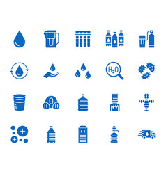 water drop flat glyph icons set aqua filter vector image