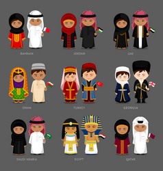 west asia and middle east people in national vector image
