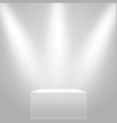 White illuminated stand on the wall mockup vector