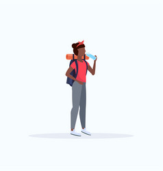 Woman hiker with backpack drinking water african vector