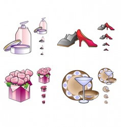 woman stuff icons vector image