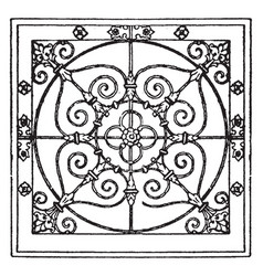 Wrought-iron square panel is a antic pattern vector