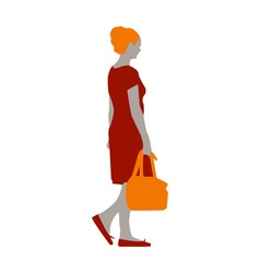 a girl in a red dress and orange shoes with a bag vector image vector image