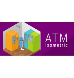 Atm isometric flat 3d vector