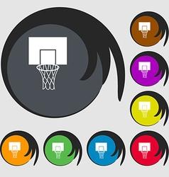 Basketball backboard icon Symbols on eight colored vector image