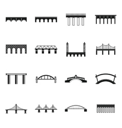 Bridge set icons simple style vector image vector image