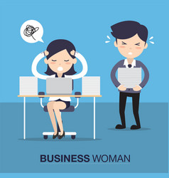 business woman in hard working vector image