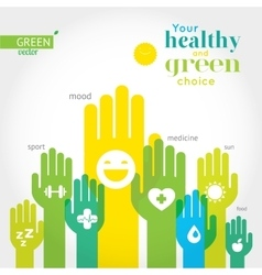 Green yellow and blue hands with symbols of vector image