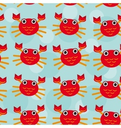 Red crayfish Seamless pattern with funny cute vector image