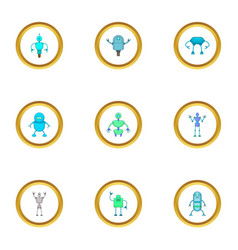 technology robot icons set cartoon style vector image