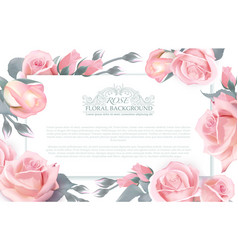 botanical horizontal banner with roses vector image vector image