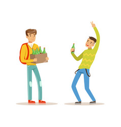 boy came to party with box of alcoholic drinks vector image vector image