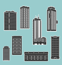 building and skyscrapers silhouette set vector image vector image