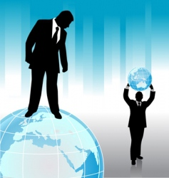 businessman with planet vector image vector image