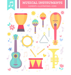 flat musical instruments isolated on white vector image