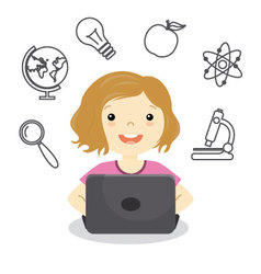 girl studying online vector image vector image