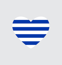 Heart in colors of the uruguay flag vector