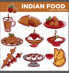 indian cuisine traditional food dishes flat vector image
