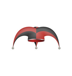 jester hat in black and red design vector image vector image