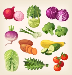 Set of colorful vegetables vector image