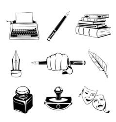 Writer design elements isolated objects vintage vector image