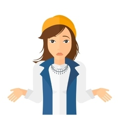 Confused woman shrugging her shoulders vector image