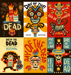 dead day mexico bannes set vector image