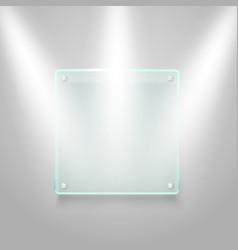 glass board illuminated on the wall mockup vector image vector image