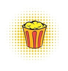 Popcorn in striped bucket comics icon vector image