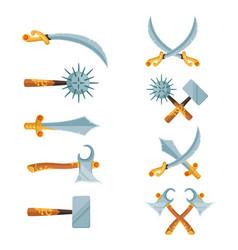 set of cartoon game design crossed swords vector image vector image