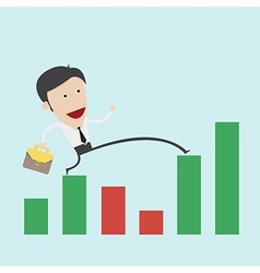 Business man step over the negative graph vector image vector image