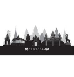 cambodia landmarks skyline in black and white vector image vector image