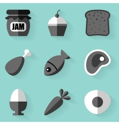 Flat icon set Food White style vector image