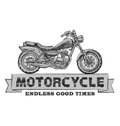 hand drawn chopper motorcycle quote vector image
