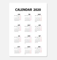 2020 calendar templatecalendar set of 12 vector