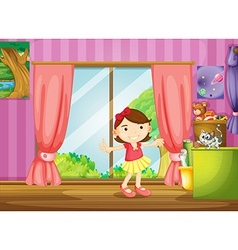 A girl and cat inside the house vector