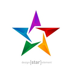 Abstract rainbow star three-dimensional graphics vector image
