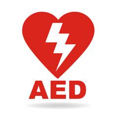 aed emergency defibrillator aed icon vector image