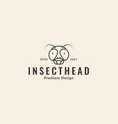 Animal head insect flies lines cute logo symbol vector