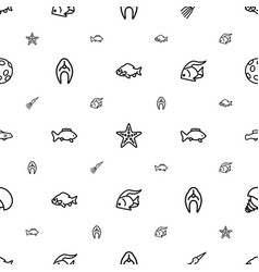 Aquatic icons pattern seamless white background vector