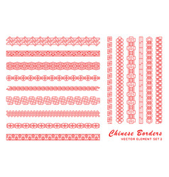 Asian red border set in vintage style on white vector