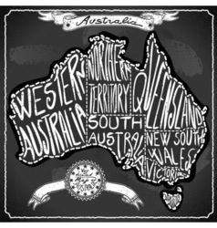 Australia Map on Vintage Handwriting BlackBoard vector