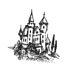 authentic castle tower hand drawn vector image