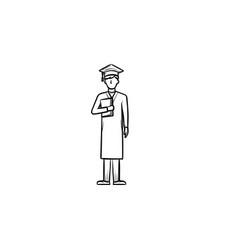 Bachelor in graduation cap hand drawn sketch icon vector
