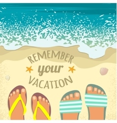 Background with sea sand beach feet in sandals vector