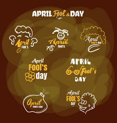 Badges april fools day vector