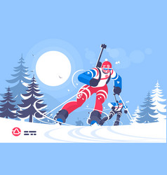 Biathlon race skiing man flat poster vector