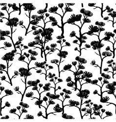 Black and White Asian Trees Kimono Seamless vector image
