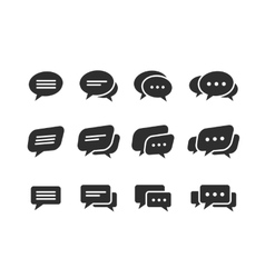 black speech bubble icons vector image